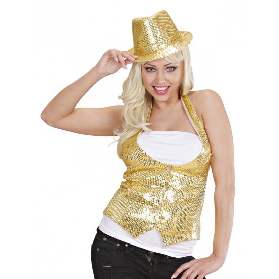 afa38850965926 Toppers Gouden gilet met pailletten voor dames - Toppers Pretty Pink ...
