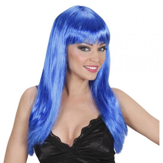 Toppers 2014 Blauwe damespruik met lang stijl haar