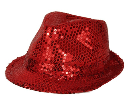Toppers 2014 Rood trilby hoedje met pailletten