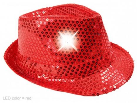 Toppers 2014 Rood pailletten hoedje met LED licht