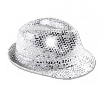 Zilver pailletten hoedje met LED licht