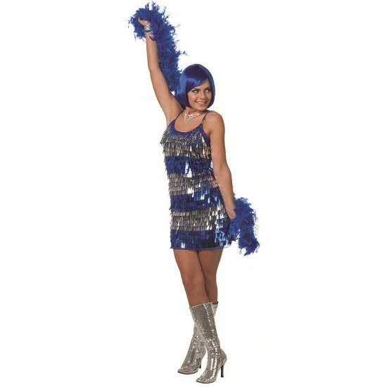 Toppers 2014 Pailletten jurkje blauw met zilver