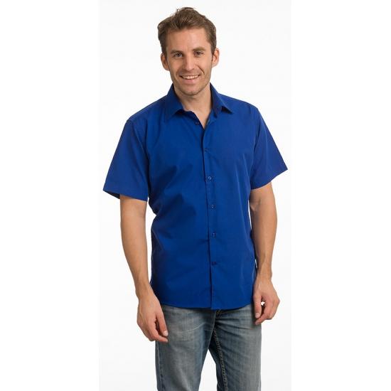 Toppers 2014 Heren overhemd blauw met korte mouw
