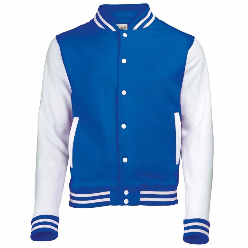 Blauw met wit college jacket voor heren