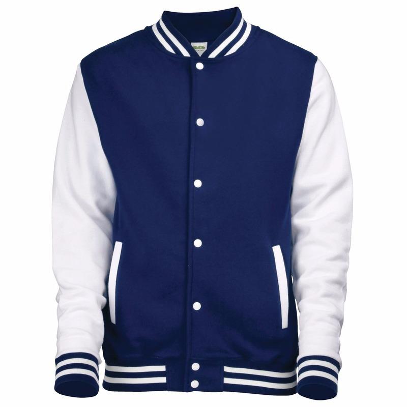 Navy met wit college jacket voor heren