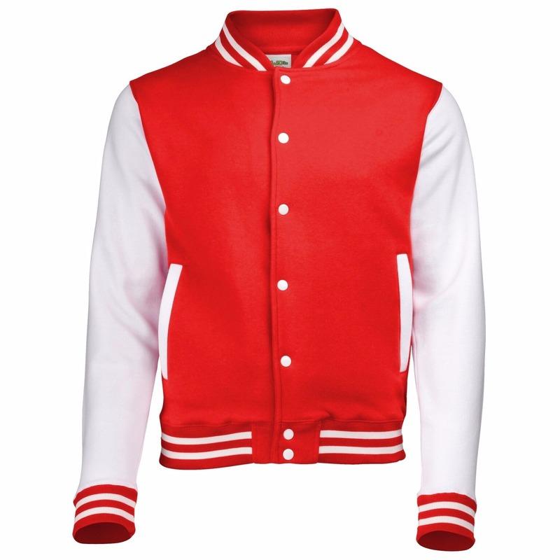 Rood met wit college jacket voor heren