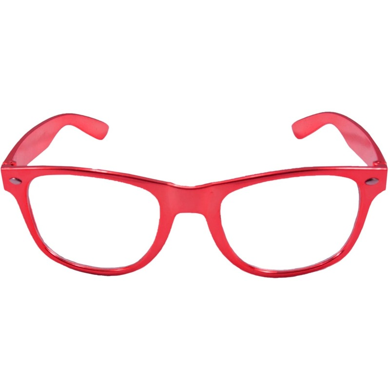 Toppers Verkleed bril metallic rood