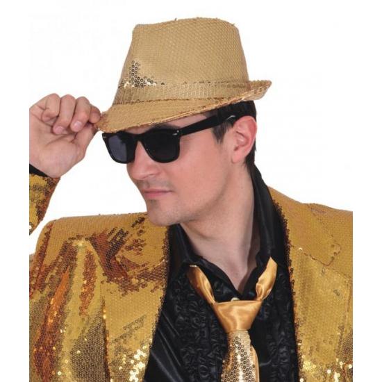 Trilby hoed gouden pailletten